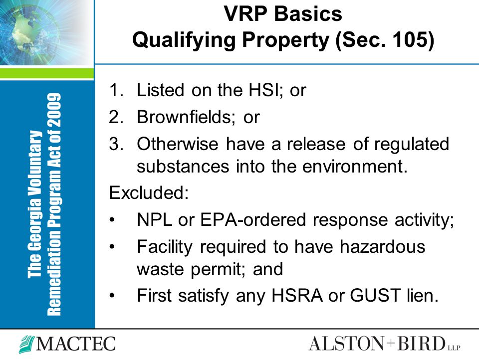 VRP Basics Qualifying Property (Sec. 105)