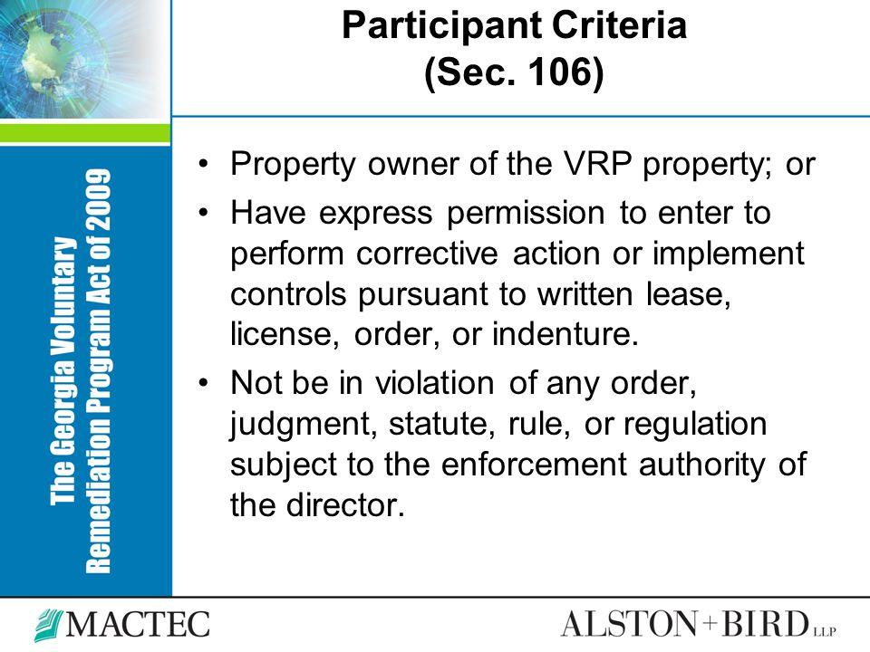 Participant Criteria (Sec. 106)