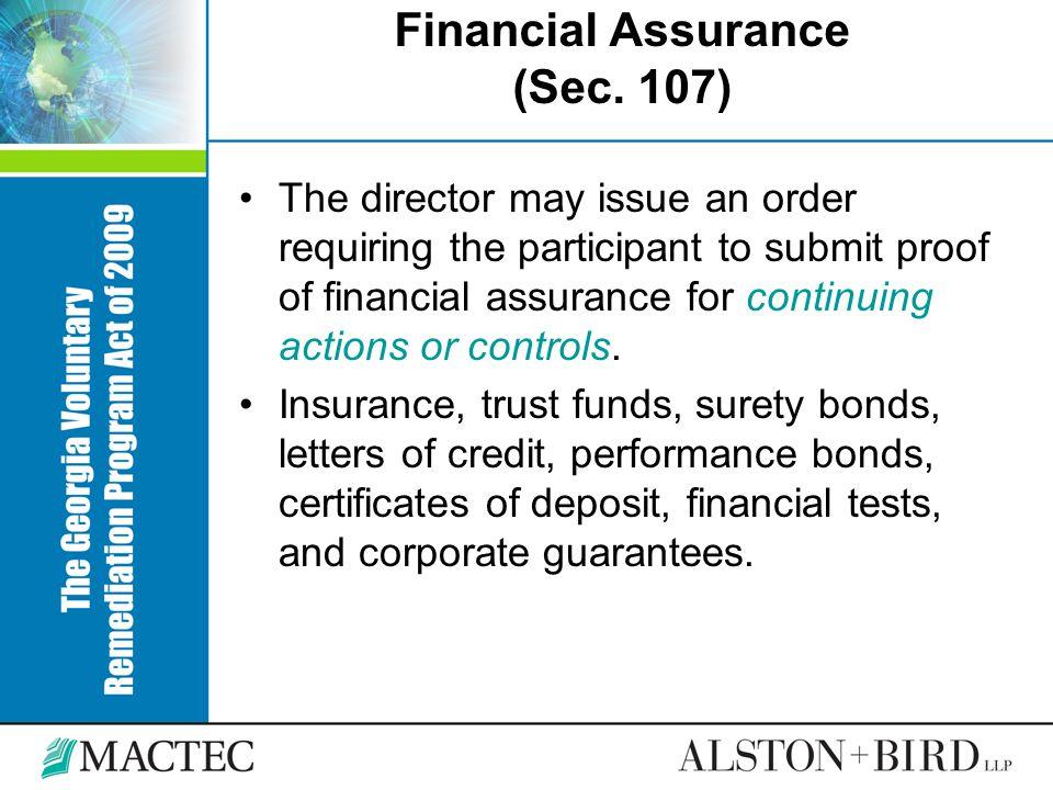 Financial Assurance (Sec. 107)