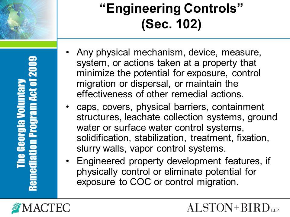Engineering Controls (Sec. 102)