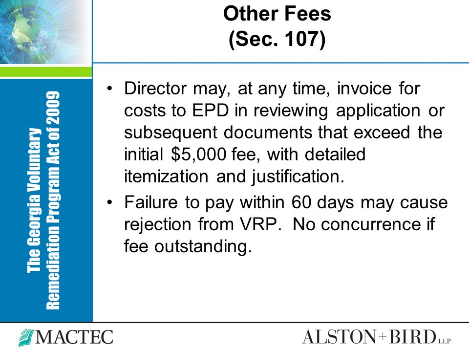 Other Fees (Sec. 107)