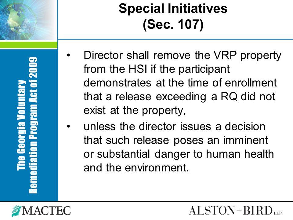 Special Initiatives (Sec. 107)