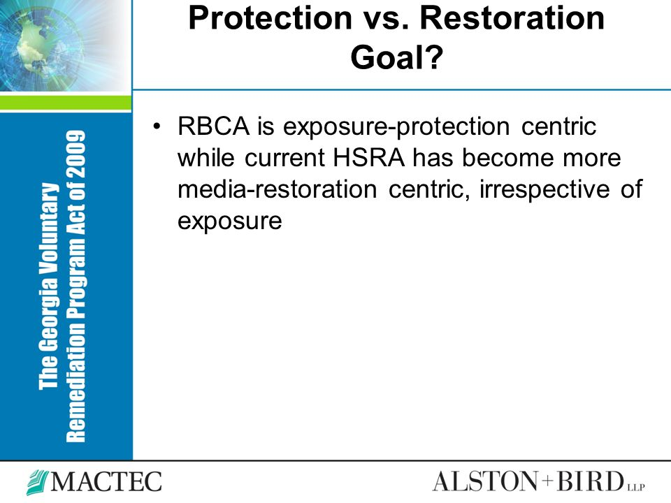 Protection vs. Restoration Goal