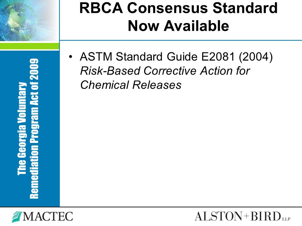 RBCA Consensus Standard Now Available