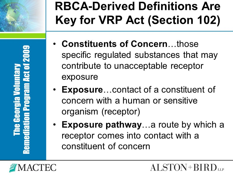 RBCA-Derived Definitions Are Key for VRP Act (Section 102)
