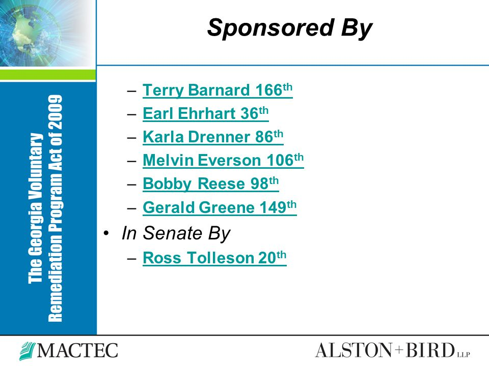 Sponsored By In Senate By Terry Barnard 166th Earl Ehrhart 36th