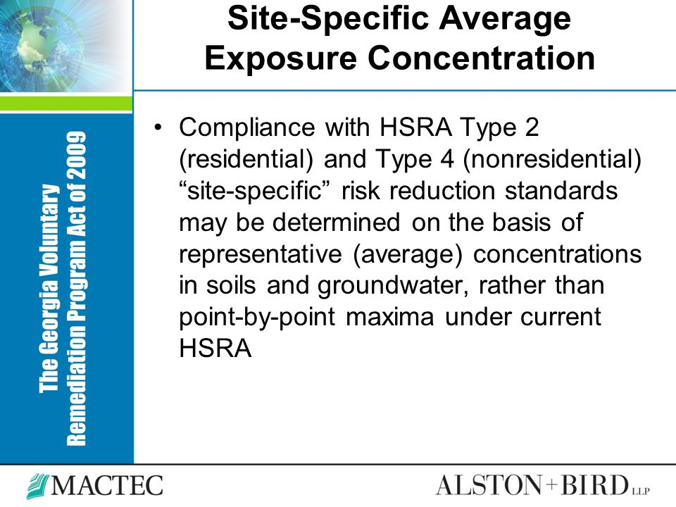 Site-Specific Average Exposure Concentration