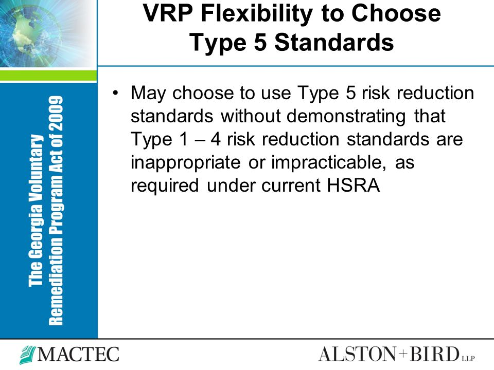 VRP Flexibility to Choose Type 5 Standards