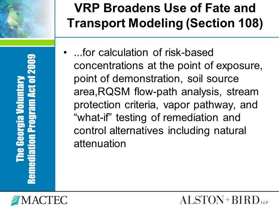 VRP Broadens Use of Fate and Transport Modeling (Section 108)