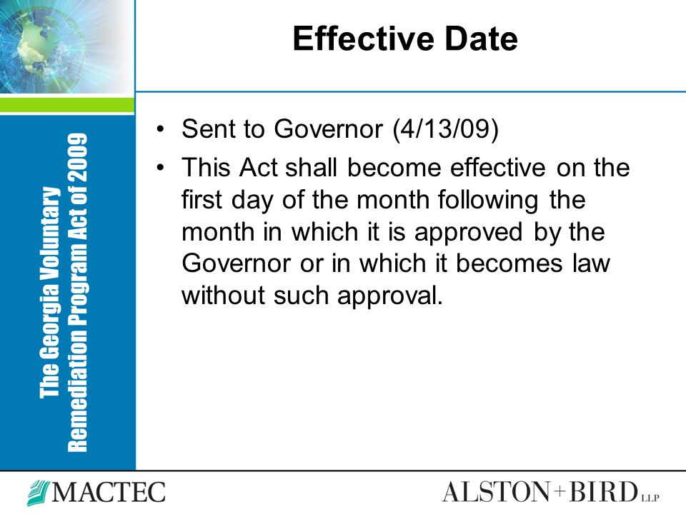 Effective Date Sent to Governor (4/13/09)