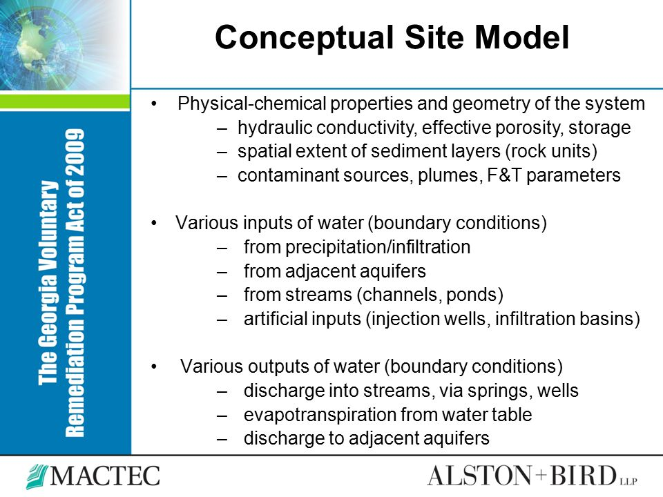 Conceptual Site Model Physical-chemical properties and geometry of the system. hydraulic conductivity, effective porosity, storage.