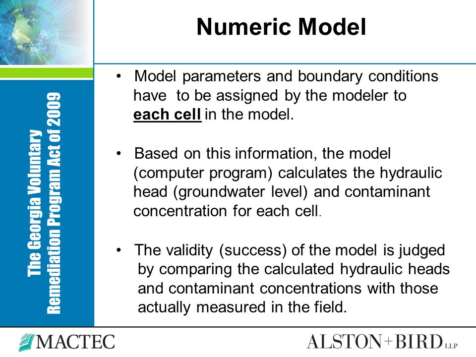 Numeric Model Model parameters and boundary conditions