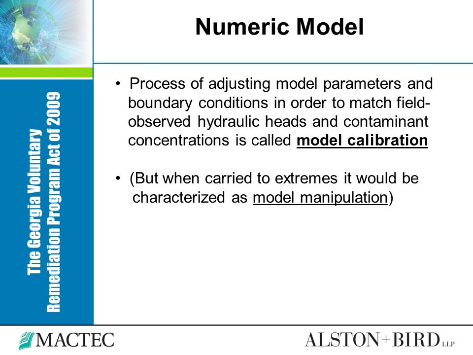 Numeric Model Process of adjusting model parameters and