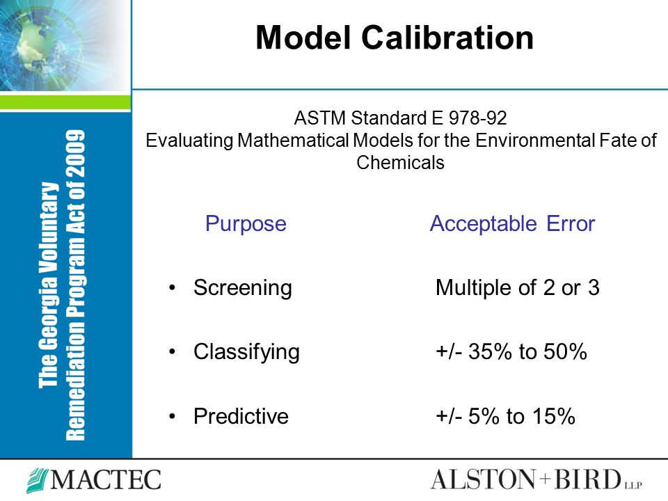 Model Calibration Purpose Acceptable Error