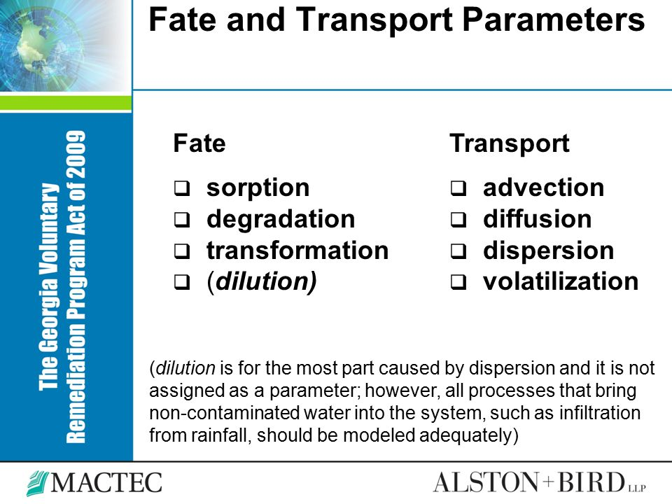 Fate and Transport Parameters
