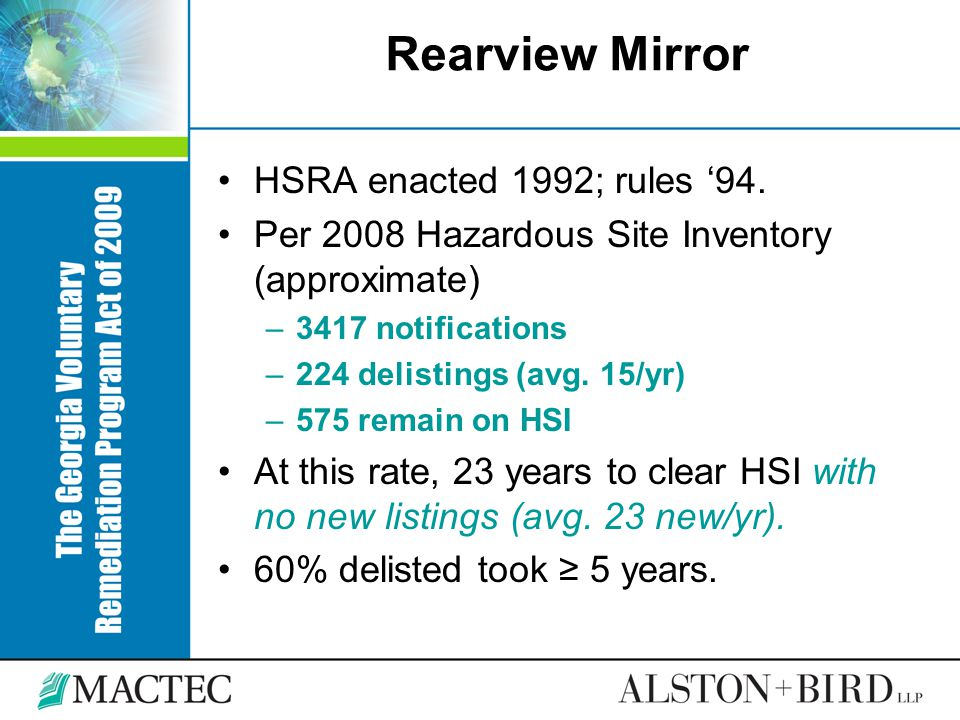Rearview Mirror HSRA enacted 1992; rules '94.