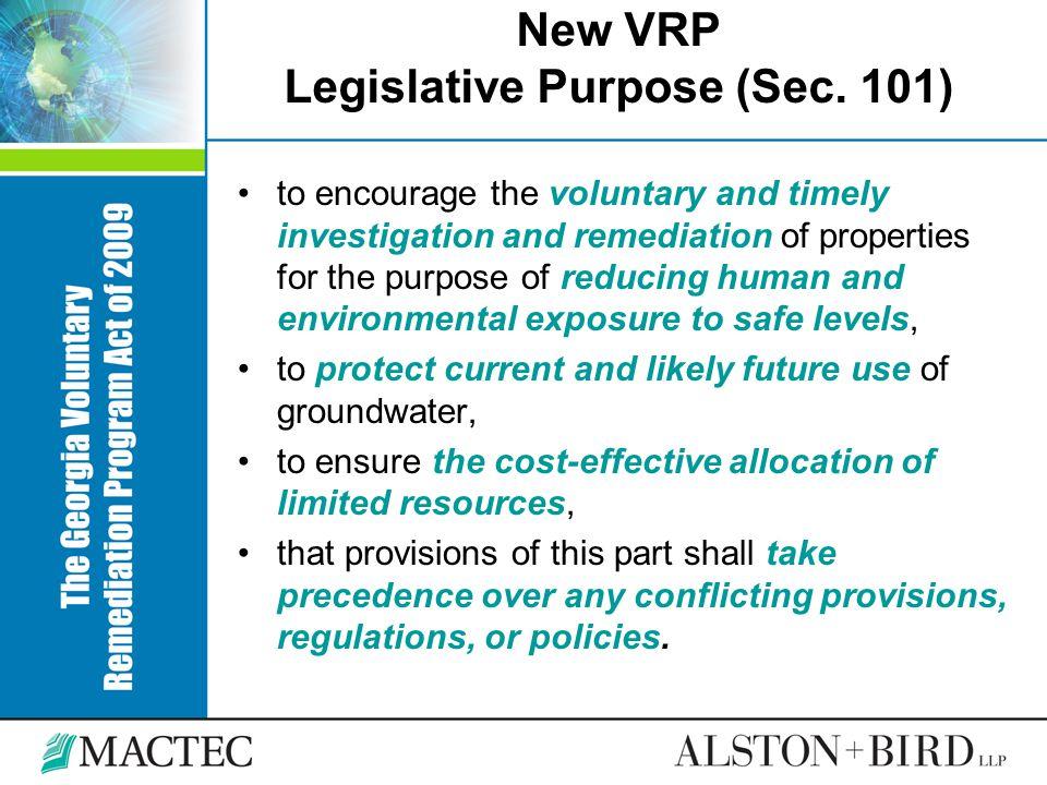 New VRP Legislative Purpose (Sec. 101)