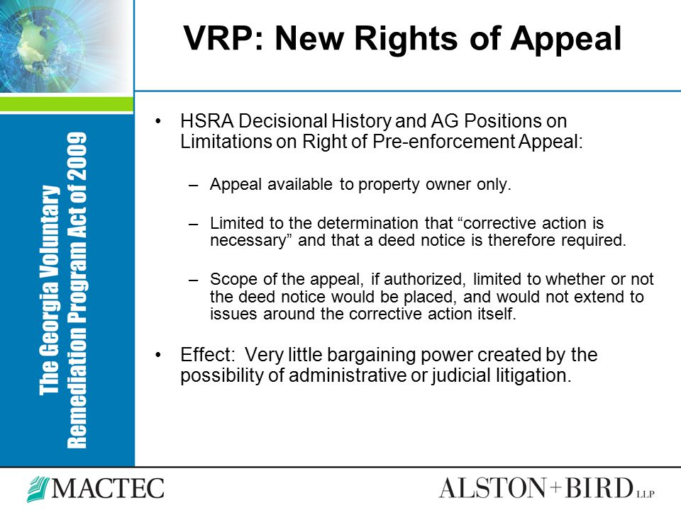 VRP: New Rights of Appeal