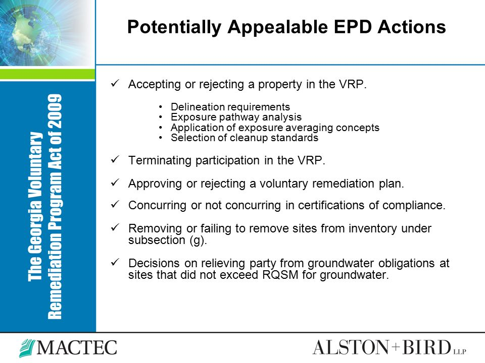 Potentially Appealable EPD Actions