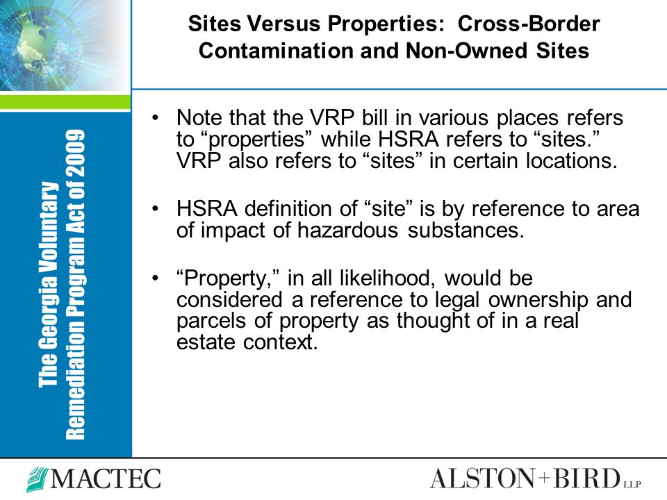 Sites Versus Properties: Cross-Border Contamination and Non-Owned Sites