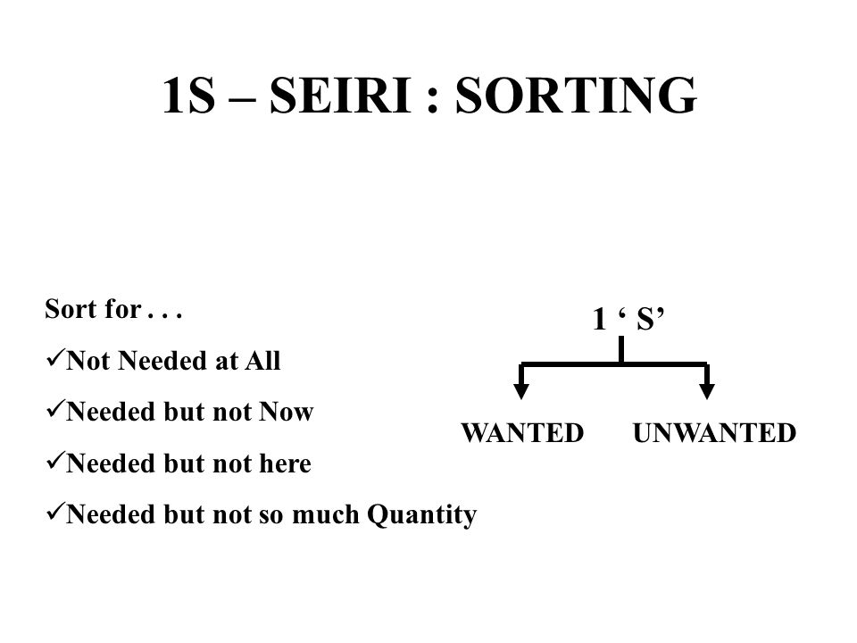1S – SEIRI : SORTING 1 ' S' Sort for . . . Not Needed at All