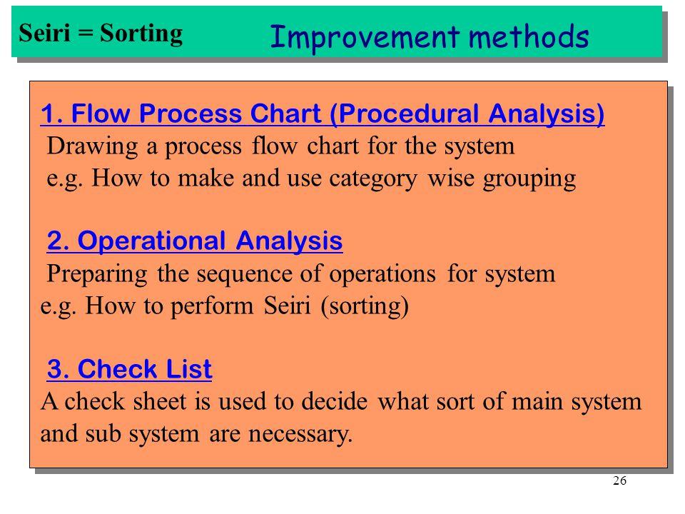 Improvement methods Seiri = Sorting