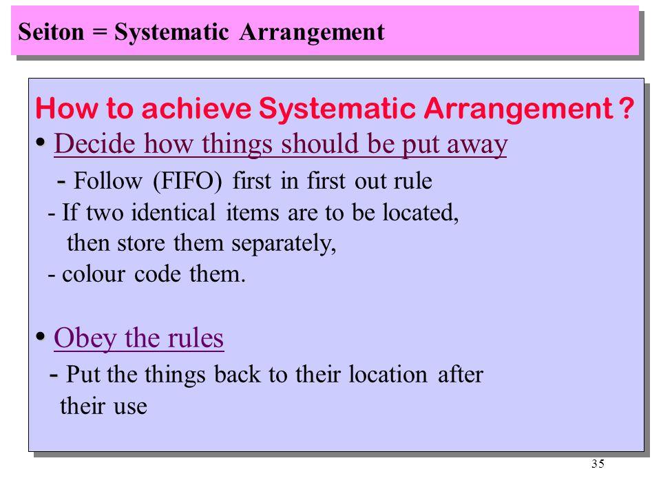 Seiton = Systematic Arrangement
