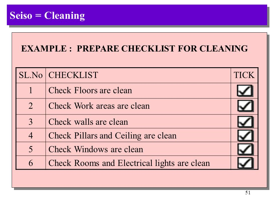 Seiso = Cleaning EXAMPLE : PREPARE CHECKLIST FOR CLEANING SL.No