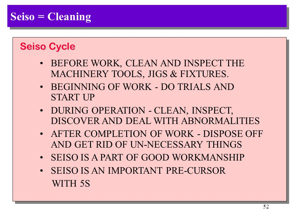 Seiso = Cleaning Seiso Cycle