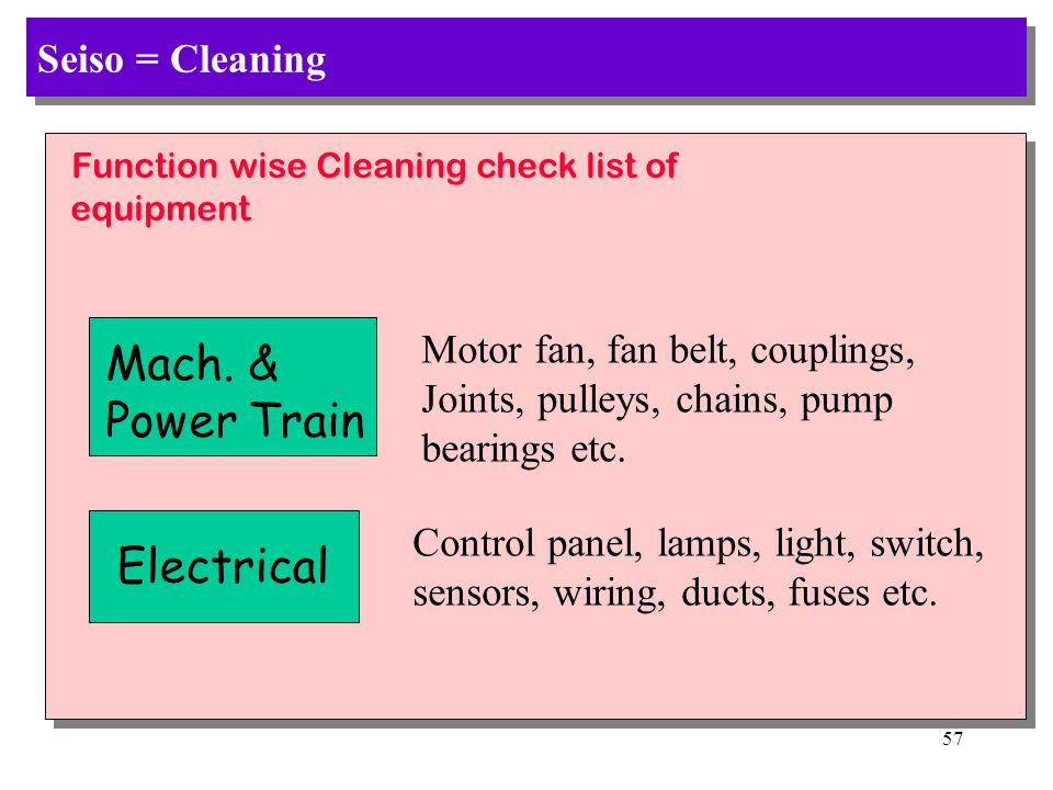 Mach. & Power Train Electrical Seiso = Cleaning