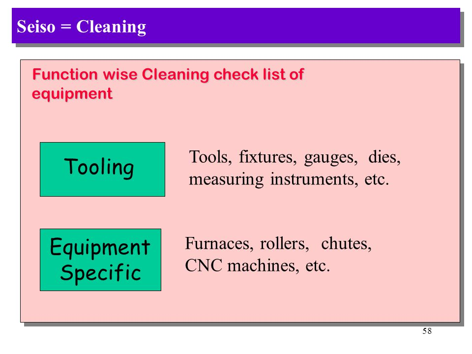 Tooling Equipment Specific Seiso = Cleaning