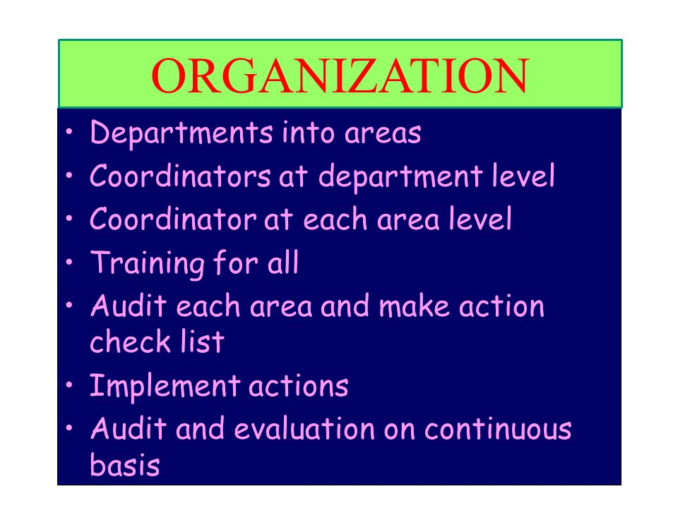 ORGANIZATION Organization Departments into areas
