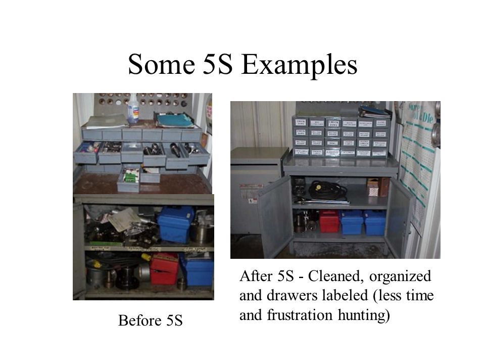 Some 5S Examples After 5S - Cleaned, organized and drawers labeled (less time and frustration hunting)