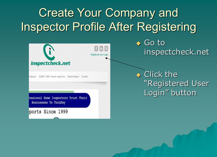 Create Your Company and Inspector Profile After Registering