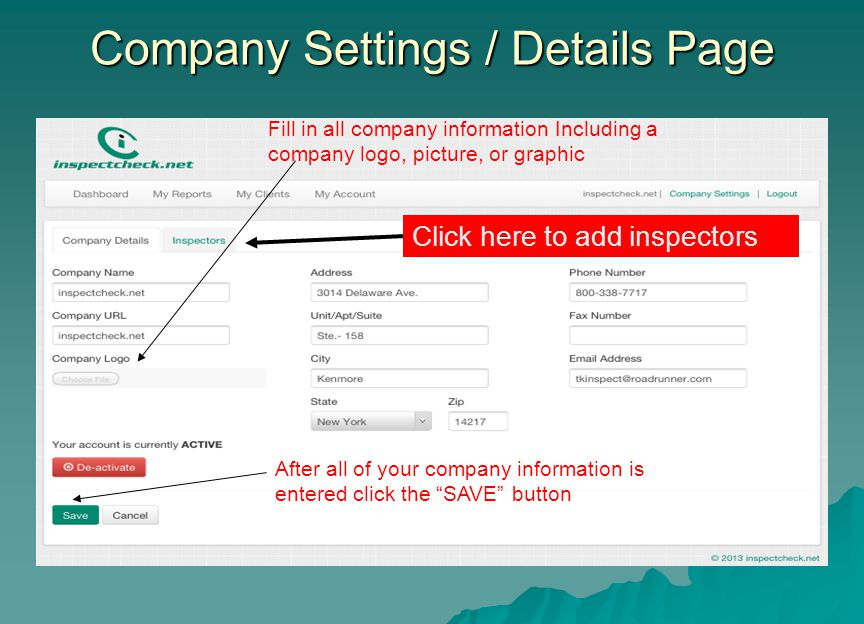 Company Settings / Details Page