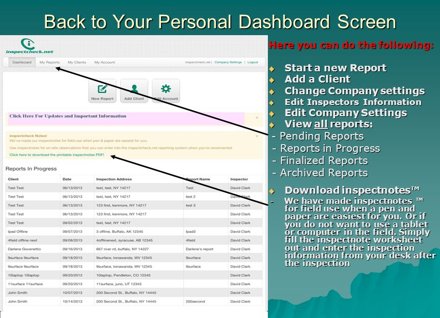 Back to Your Personal Dashboard Screen