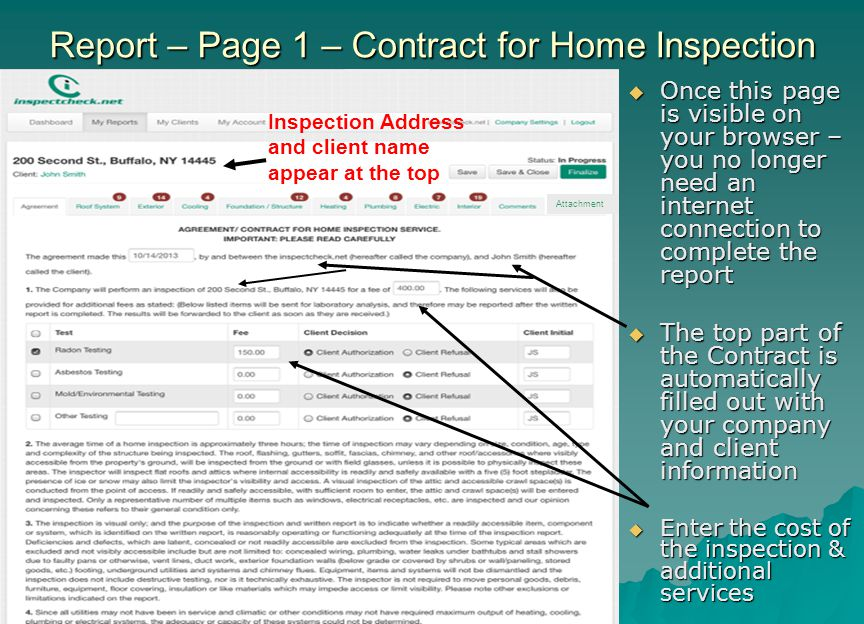 Report – Page 1 – Contract for Home Inspection