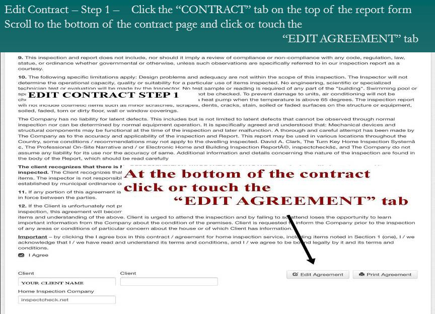 Edit Contract – Step 1 – Click the CONTRACT tab on the top of the report form