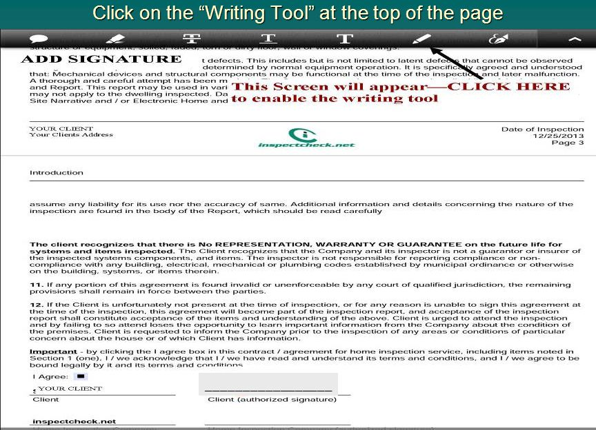 Click on the Writing Tool at the top of the page
