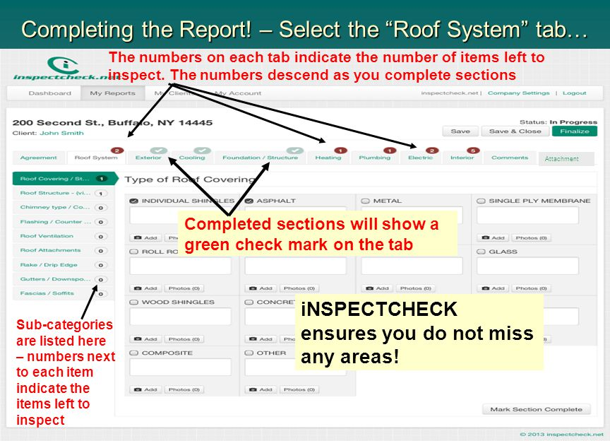 Completing the Report! – Select the Roof System tab…