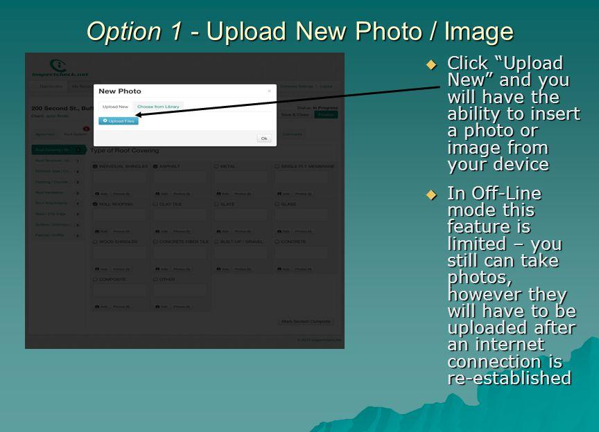 Option 1 - Upload New Photo / Image