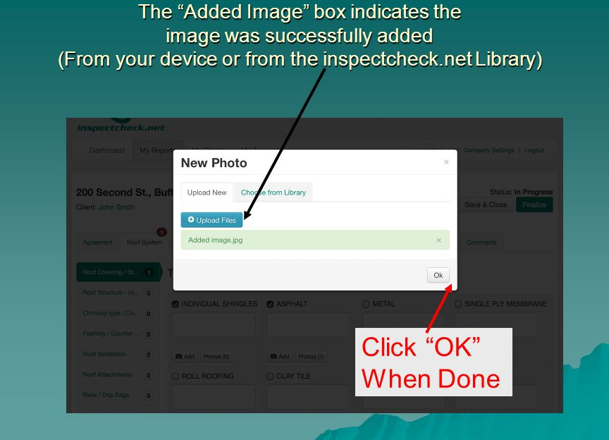 The Added Image box indicates the image was successfully added (From your device or from the inspectcheck.net Library)