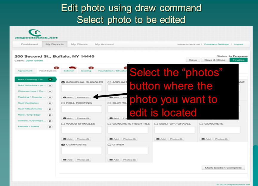 Edit photo using draw command Select photo to be edited