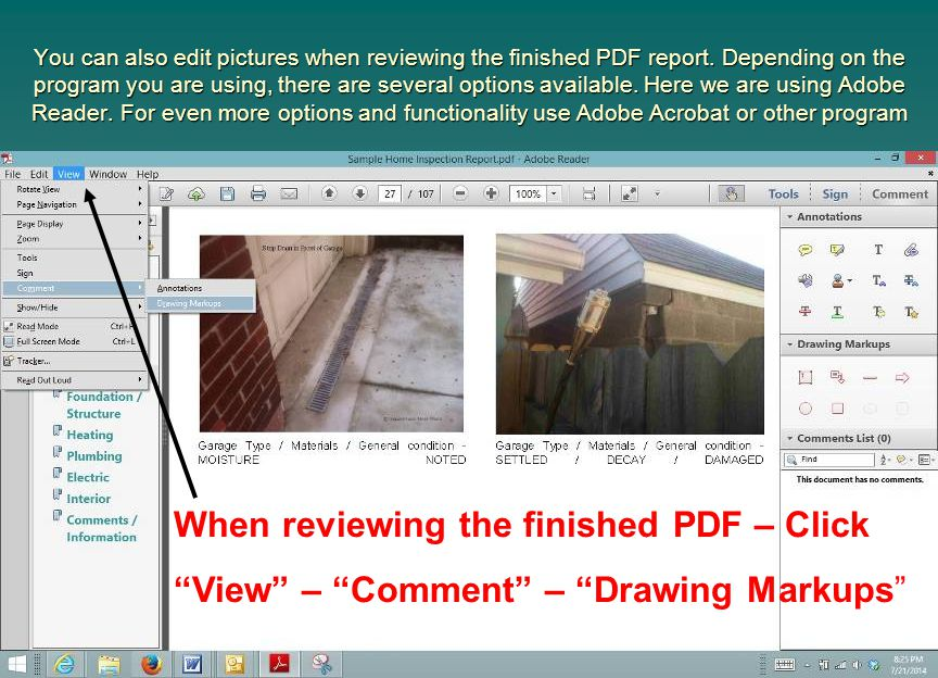 When reviewing the finished PDF – Click