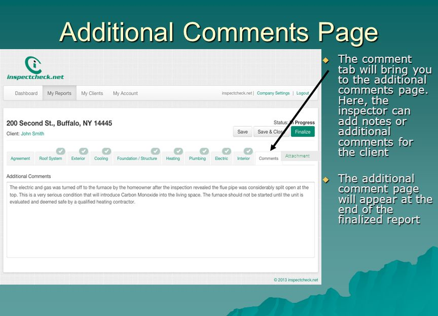 Additional Comments Page