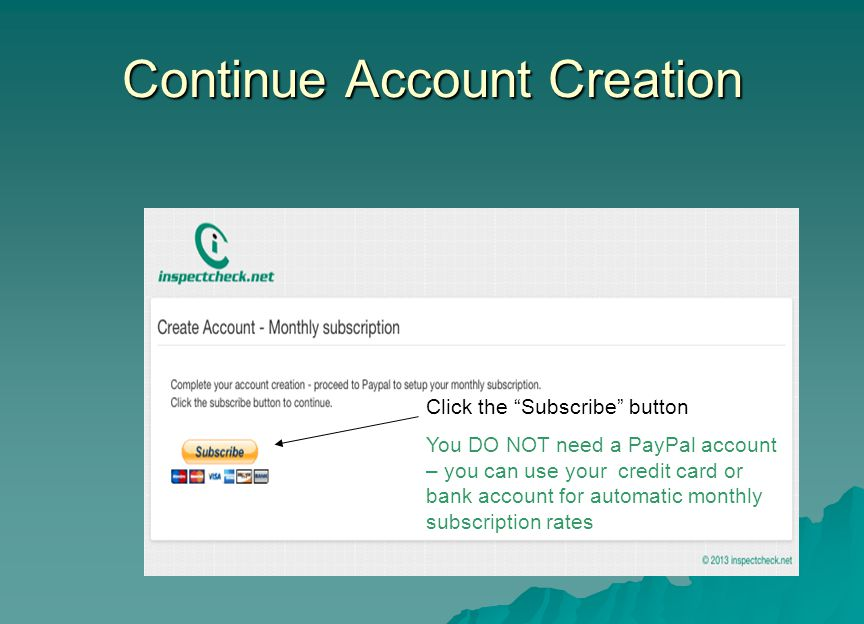 Continue Account Creation