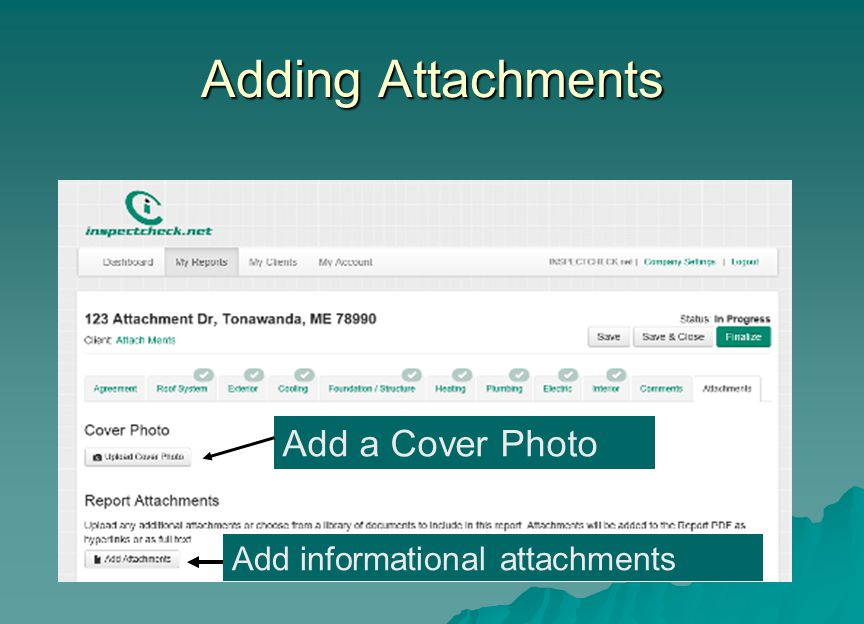 Adding Attachments Add a Cover Photo Add informational attachments