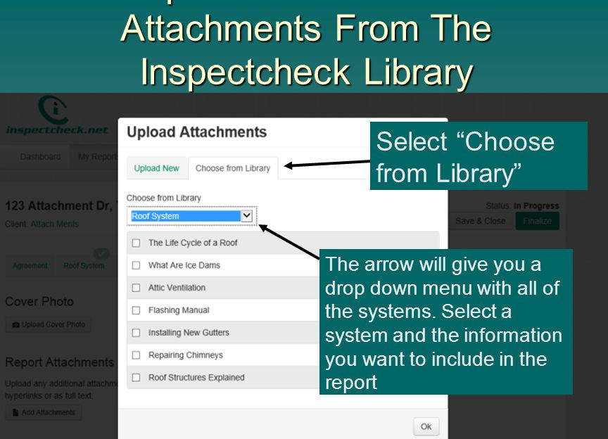 Upload Informational Attachments From The Inspectcheck Library