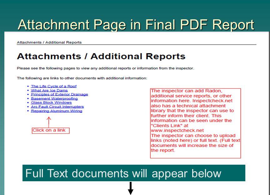 Attachment Page in Final PDF Report