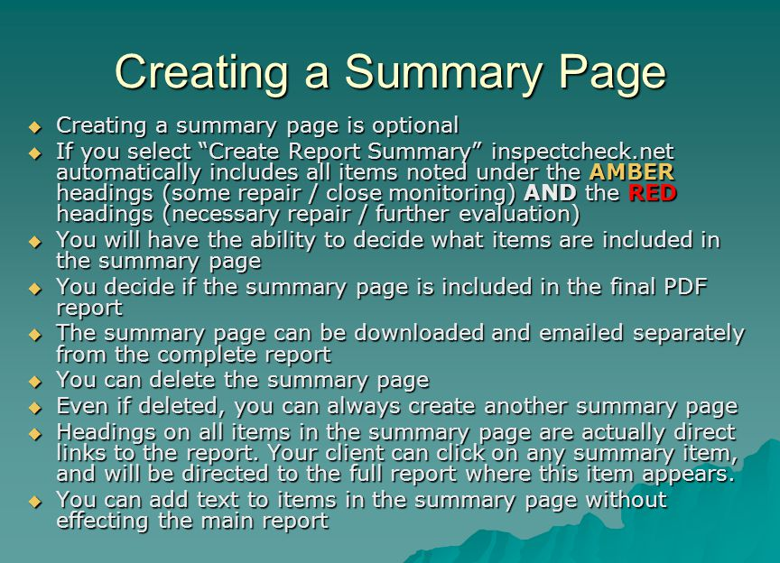 Creating a Summary Page